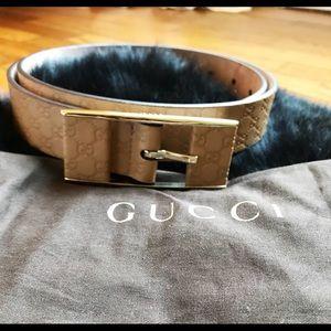 Authentic Gucci GG Monogram Leather Belt